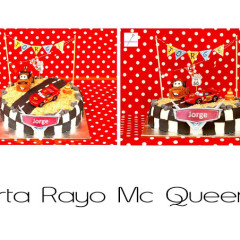 tarta cars, tarta rayo mc queen, banderin