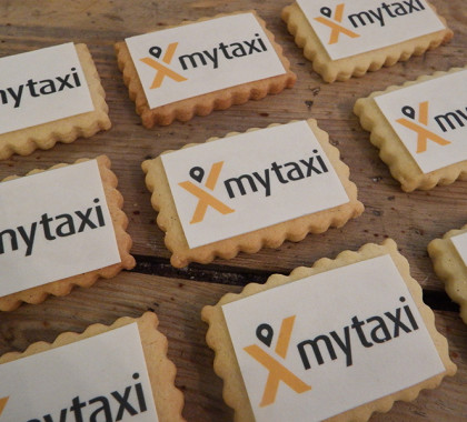 galletas mytaxi, evento mytaxi, galletas mantequilla, galletas logotipo